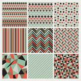 Seamless geometric hipster background set. Royalty Free Stock Photo