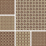 Seamless geometric latticed patterns set. Stock Photo