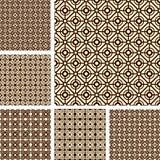 Seamless geometric latticed patterns set. Vector art Stock Photo