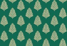 Seamless geometric leaves pattern with green background vector illustration