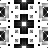 Seamless geometric monochrome striped pattern stock illustration