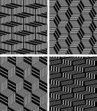 Seamless geometric op art patterns set. Stock Images