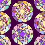 Seamless geometric ornament with multi colored circles. Illustration on a dark background Stock Photography
