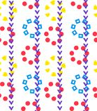 Seamless geometric ornament pattern of stems by check mark and flowers by shapes of a square, heart and circle on a white. Background repeating.Design for royalty free illustration