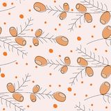 Seamless geometric pattern of autumn leaves and berries. Vector hand drawn pattern with autumn elements contours. Eps 10 Stock Illustration
