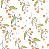 Seamless geometric pattern of autumn leaves and berries. Vector hand drawn pattern with autumn elements contours. Eps 10 Vector Illustration