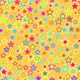 Seamless geometric pattern, background. Colorful stars on a yellow background. For your design Stock Photography