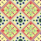 Seamless geometric pattern, with a beautiful a rhombus pattern and flowers Royalty Free Stock Photography
