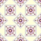 Seamless geometric pattern, beautiful unusual flowers in pale blue rhombus Stock Photography
