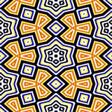 Seamless geometric pattern in black, blue, yellow, orange Royalty Free Stock Photography