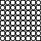 Seamless geometric pattern. Black circles and squares alternate. Vector. Royalty Free Stock Images