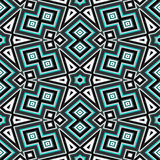 Seamless geometric pattern in black and turquoise Stock Photo