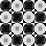 Seamless geometric pattern. Black and white circles polka dots . Vector. Seamless geometric pattern. Black and white circles polka dots on the squares. Vector Stock Image
