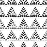 Seamless geometric pattern. Black and white texture. Drawn triangles. Drops texture. Brushwork. Scribble texture. Textile rapport Royalty Free Stock Photography
