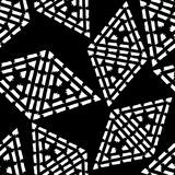 Seamless geometric pattern. Black and white texture. Drawn triangles. Drops texture. Brushwork. Scribble texture. Textile rapport Stock Photography