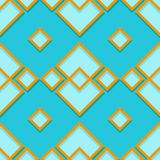 Seamless geometric pattern. Blue and orange 3d design. Vector illustration Royalty Free Stock Photography