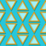 Seamless geometric pattern. Blue and orange 3d design. Vector illustration Royalty Free Stock Photo