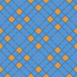 Seamless geometric pattern, blue and orange diamond with a star. Vector illustration Stock Photos