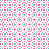 Seamless geometric pattern with bright pink and blue dots and circles.