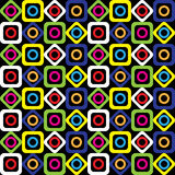 Seamless geometric pattern of bright squares, circles and diamonds on a black background. Vector. Stock Photo