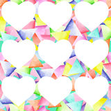 Seamless geometric pattern with bright triangles and white hearts Royalty Free Stock Photo