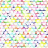 Seamless geometric pattern with bright triangles and white hearts Stock Images