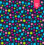 Seamless geometric pattern with circles. Colorful texture with multicolor shapes on dark background royalty free illustration