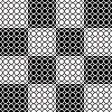 Seamless geometric pattern with circles on squares. White circles on black squares alternate with black circles on the black squares Stock Image