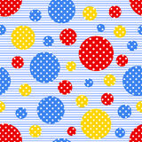 Seamless geometric pattern with colored circles. With white polka dots on a striped background. Vector illustration Stock Illustration