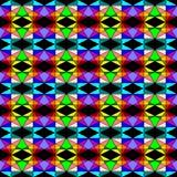 Seamless geometric pattern of colorful mosaic, many sizes of triangle shapes on black background. Flat design vector illustration, royalty free illustration