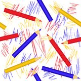 Seamless geometric pattern with colorful pencils. Vector EPS10. stock illustration