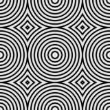 Seamless geometric pattern with concentric circles and rhombuses. Black and white vector illustration.  stock illustration
