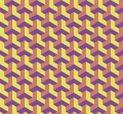 Seamless geometric pattern with cubes, 3D effect architectural illustration.  Royalty Free Stock Image