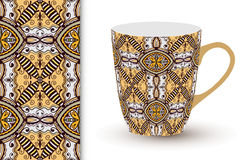 Seamless geometric pattern and cup with decorative. Ornament Royalty Free Stock Photos
