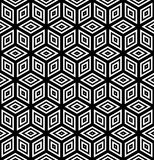 Seamless geometric pattern. 3D illusion. Seamless diamonds and hexagons pattern. 3D optical illusion. Geometric texture. Vector art Royalty Free Stock Images