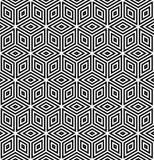 Seamless geometric pattern. 3D illusion. Seamless diamonds and hexagons pattern. 3D optical illusion. Geometric texture. Vector art Royalty Free Stock Photos