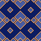 Seamless geometric pattern. Deep blue and orange 3d design. Vector illustration Stock Image