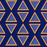 Seamless geometric pattern. Deep blue and orange 3d design. Vector illustration Royalty Free Stock Photo