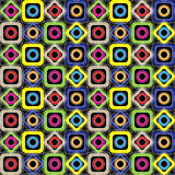 Seamless geometric pattern. Diamonds, circles, squares with rounded corners on a black background. Vector. Seamless geometric pattern. Colored diamonds, circles Stock Images