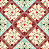 Seamless geometric pattern, diamonds with an unusual colored flowers. Vector illustration Royalty Free Illustration