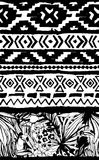 Seamless geometric pattern. Ethnic aztec tropical birds tribal floral background Royalty Free Stock Images