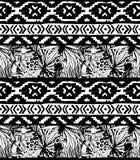 Seamless geometric pattern. Ethnic aztec tropical birds tribal floral background Stock Photos