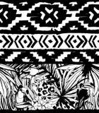 Seamless geometric pattern. Ethnic aztec tropical birds tribal floral background Stock Photo