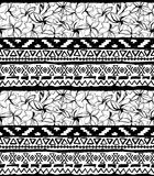 Seamless geometric pattern. Ethnic aztec tropical tribal floral flowers background Royalty Free Stock Photos