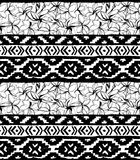 Seamless geometric pattern. Ethnic aztec tropical tribal floral flowers background Stock Photos