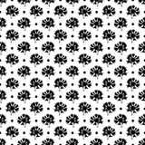 Seamless geometric pattern with flowers and circles. On a white background staggered the edges of the flowers and circles Stock Images