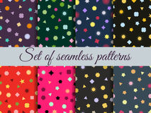 Seamless geometric pattern. Geometric chaos. Wrapping paper. Set seamless pattern with geometric figures. Stock Images