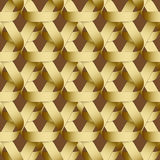 Seamless geometric pattern with golden ribbons texture. Stock Photos