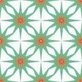 Seamless geometric pattern, green stars on white background Stock Photos