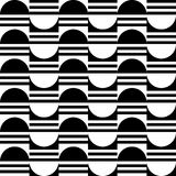 Seamless geometric pattern of the halves of the circle and stripes. Geometric black and white pattern Stock Photography